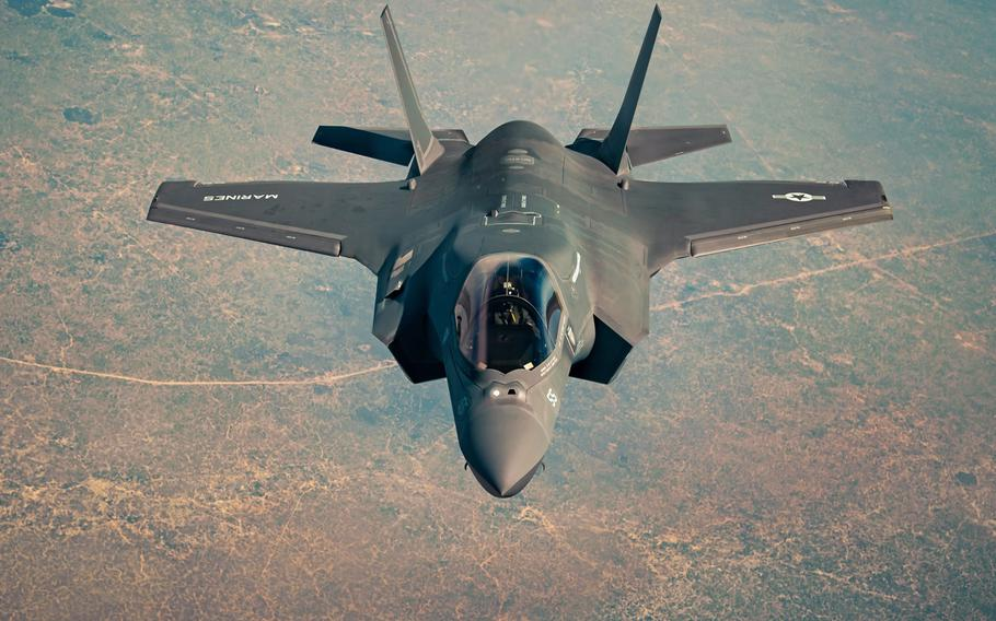 A U.S. Marine Corps F-35B Lightning II, assigned to the15th Marine Expeditionary Unit, departs after in-flight refueling while supporting Operation Octave Quartz over Somalia, Jan. 5, 2021. The U.S. launched its first airstrike Jan. 18 on al-Qaida-aligned militants in Somalia since recently withdrawing its ground forces from the country.