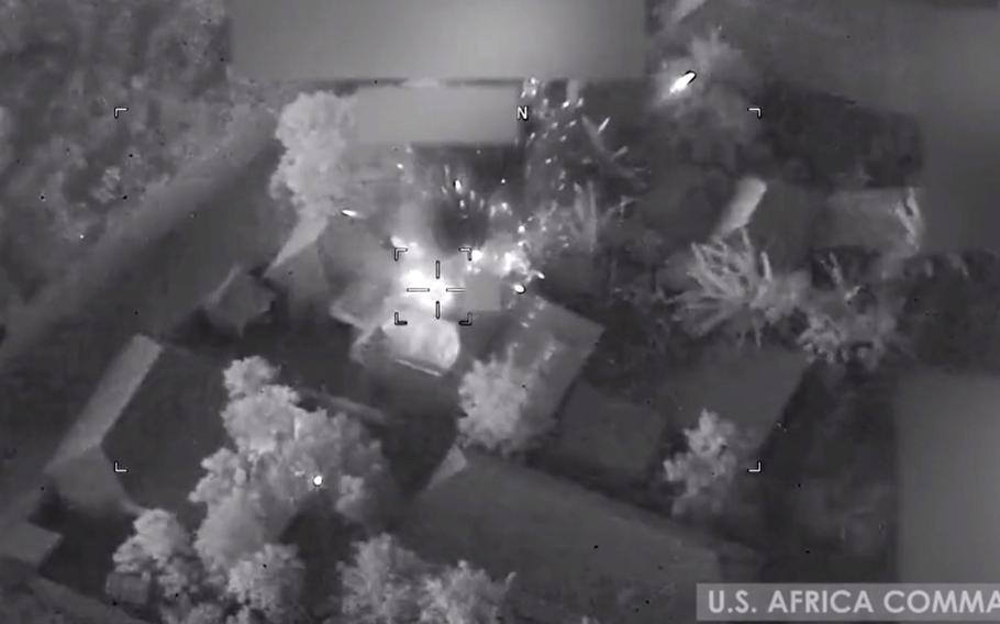 A screenshot from a U.S. Africa Command video shows airstrikes on an al-Shabab compound in Somalia on Jan. 1, 2021. AFRICOM now needs White House approval to launch airstrikes against militants in the country, The New York Times reported, citing unnamed U.S. officials.