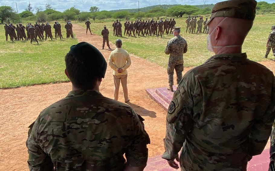U.S. special operations forces and Mozambican marines assemble, after the two countries launched a two-month anti-terrorism training program on March 15, 2021.