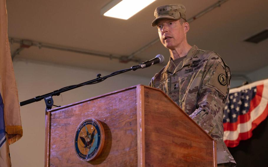 U.S. Army Maj. Gen. William L. Zana, incoming Combined Joint Task Force - Horn of Africa commander, speaks to the audience during a ceremony at Camp Lemonnier, Djibouti, May 15, 2021.