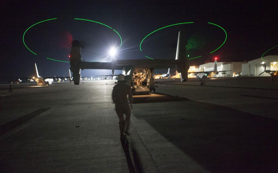 MV-22B Osprey aircraft from Special-Purpose Marine Air-Ground Task Force Crisis Response prepare to leave Naval Air Station Sigonella, Italy, to escort approximately 150 personnel from the U.S. Embassy in Tripoli, Libya, on the morning of July 26, 2014. SP-MAGTF Crisis Response is a self-deploying, self-sustaining task force with the capacity to provide a rapid-response capability to U.S. Africa Command.