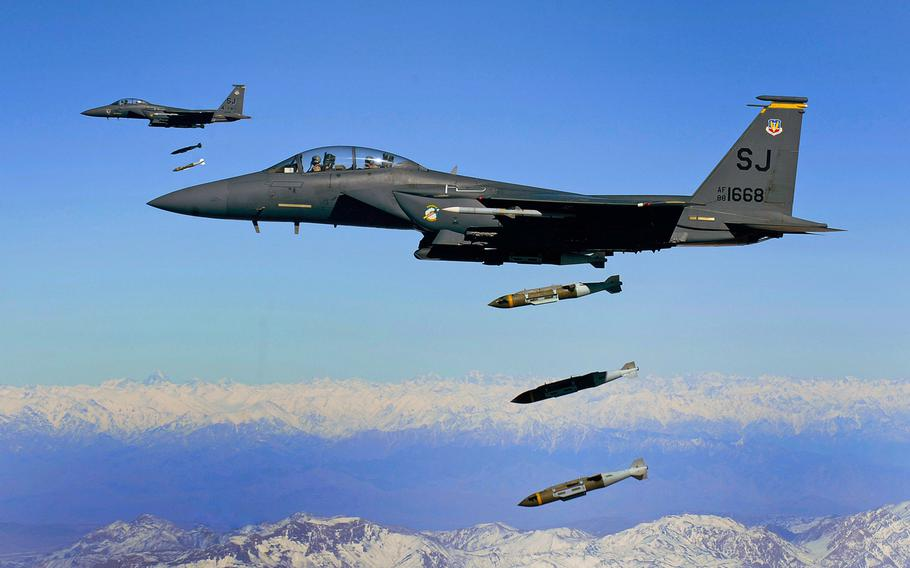 Air Force F-15E Strike Eagles drop 2,000-pound joint direct attack munitions. A recent Amnesty International report found that U.S. Africa Command airstikes in Somalia have killed civilians.