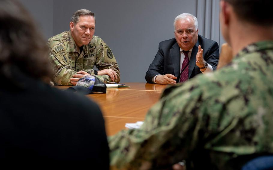 U.S. Army Maj. Gen. James D. Craig, left, Combined Joint Task Force Horn of Africa commanding general, and U.S. Ambassador to Mozambique Dennis W. Hearne discuss the situation in the African country following Cyclone Idai earlier this month. Craig arrived in Mozambique on March 25 to get a first-hand look at the devastation.