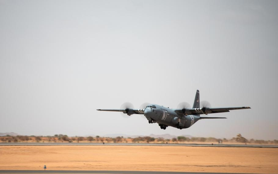An Air Force C-130J Super Hercules assigned to the 37th Airlift Squadron at Ramstein Air Base, Germany, takes off from the new runway at Nigerien Air Base 201, Agadez, Niger, Aug. 3, 2019. The 6,200-foot runway allows the Air Force to move assets in and out of Air Base 201 and is capable of supporting any aircraft up to a C-17 Globemaster III.