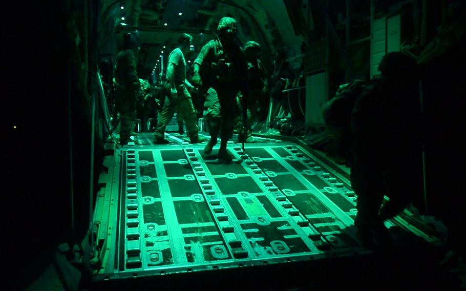 U.S. Army soldiers assigned to the East Africa Response Force, 101st Airborne Division, exit a C-130J Super Hercules at Manda Bay Airfield, Kenya, January 5, 2020. The EARF deployed to help secure the airfield after an attack by al-Shabaab terrorists.