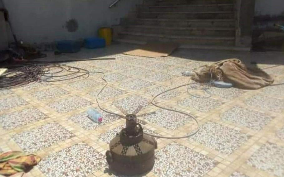 A verified image of a booby-trapped anti-personnel mine connected to the Russian-backed Wagner Group, which was found in a residential area in Tripoli, Libya.