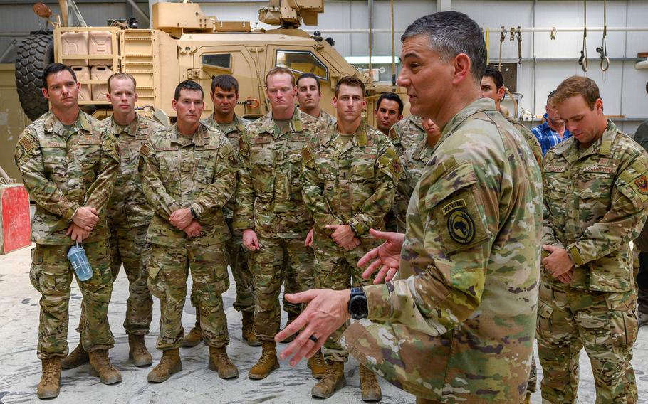 U.S. Army Gen. Stephen J. Townsend, commander, U.S. Africa Command, addresses U.S. military service members at Camp Simba, Kenya, Feb. 12, 2020. The U.S. wants permission to strike terrorists in Kenya, where three Americans were killed by al-Shabab earlier this year.
