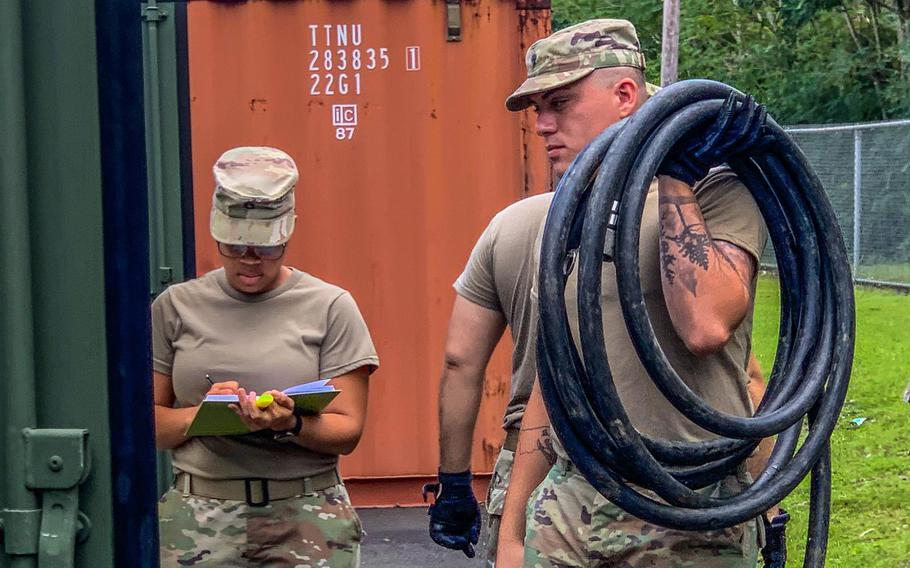 Soldiers from the 430th Quartermaster Company, U.S. Army Reserve Multifunctional Geographic Command for the Caribbean, are moving forward with the inspections and checks on Jan. 12, 202, in preparation for an eventual activation in support to the displaced citizens in the southwestern region of Puerto Rico, as a result of the recent earthquakes there.