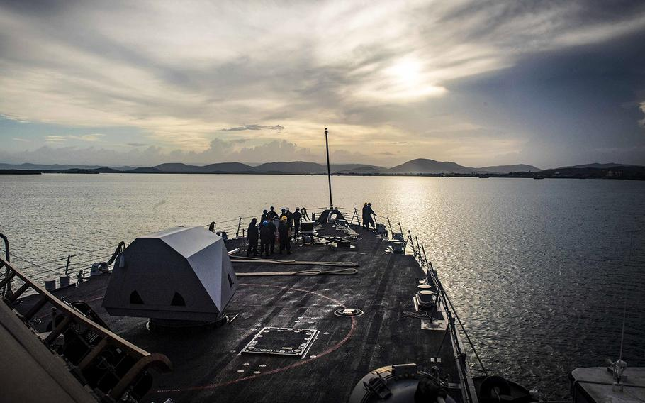 The Freedom-class littoral combat ship USS Detroit (LCS 7) pulls into Guantanamo Bay, Cuba, for fuel and provisions.