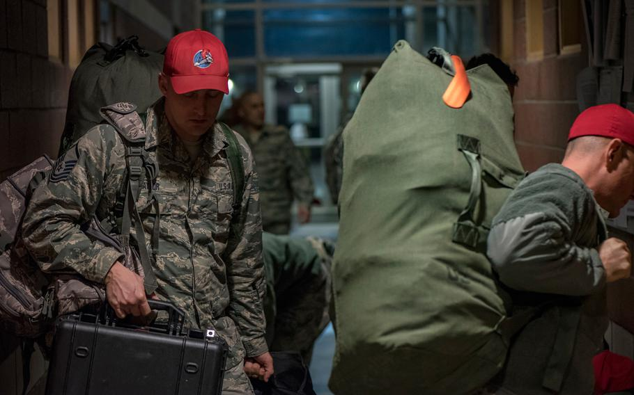 Airmen of the Ohio Air National Guard, 200th Red Horse Squadron, depart for Puerto Rico to help with earthquake relief efforts Jan. 17, 2020.