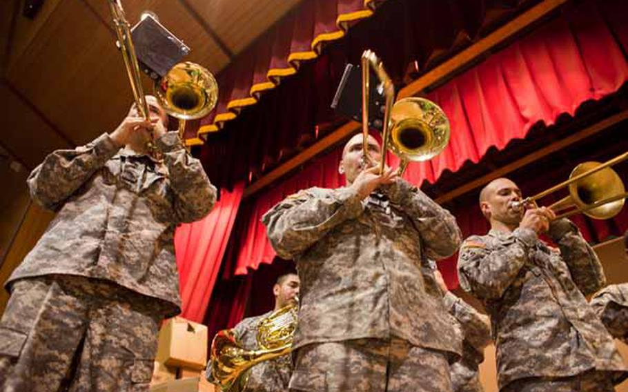 The Camp Zama Army Band plays a concert for the residents of the Rokugo Middle School shelter in Sendai City.
