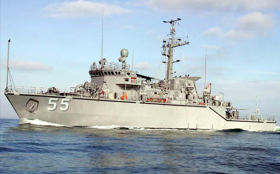 The minehunter USS Oriole, shown at sea in 2003, will be formally welcomed into the Taiwanese navy on Aug. 10, 2012, along with the former USS Falcon. Both ships were decommissioned and sold to Taiwan as part of the $6.4 billion arms package.
