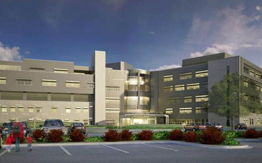 An artist's rendering of the Brian Allgood Army Community Hospital planned for Camp Humphreys in South Korea.