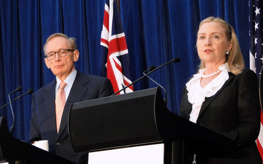Australian Foreign Minister Bob Carr and U.S. Secretary of State Hillary Clinton at a joint news conference in Perth, Australia.  Clinton and Secretary of Defense Leon Panetta were in Australia to discuss the Australia-U.S. relationship.