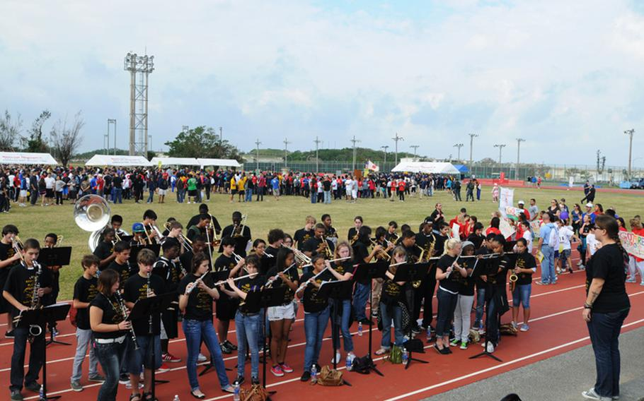 Kadena High School Band perform during the 13th Kadena Special Olympics Saturday at Kadena Air Base, creating enjoyable atmosphere to the sports event for special-needs athletes.
