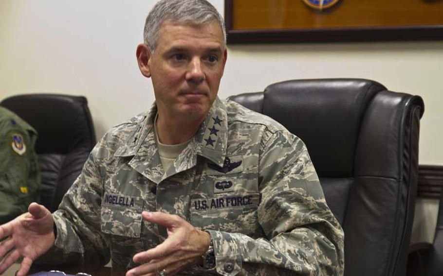 Lt. Gen. Sam Angelella, commander of U.S. Forces Japan, talks to reporters about the Japan-wide curfew he instituted in October 2012.