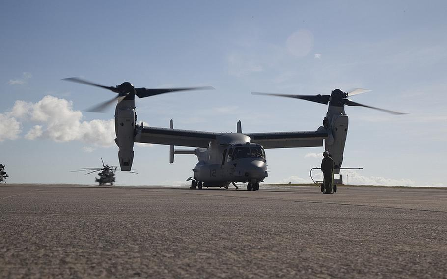 Two Osprey arrive at Marine Corps Air Station Futenma in Okinawa, Aug. 3, 2013. The two MV-22B hybrid aircraft represent the initial deployment of the second squadron to arrive in Japan. Full deployment was initially delayed after an Aug. 5 helicopter crash that killed one airman in Okinawa.