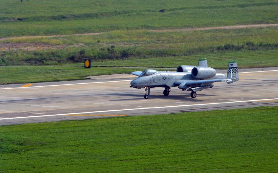 An A-10 Thunderbolt II begins take-off at Osan Air Base, South Korea, Aug. 30, 2013.