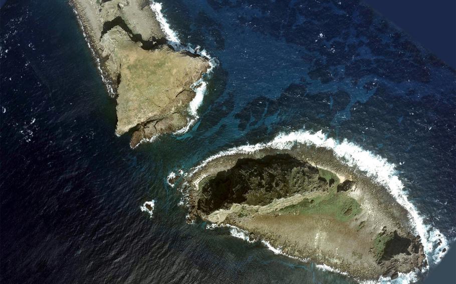 Aerial Photo of two of the Senkaku Islands, Kitakojima, left, and Minamikojima.