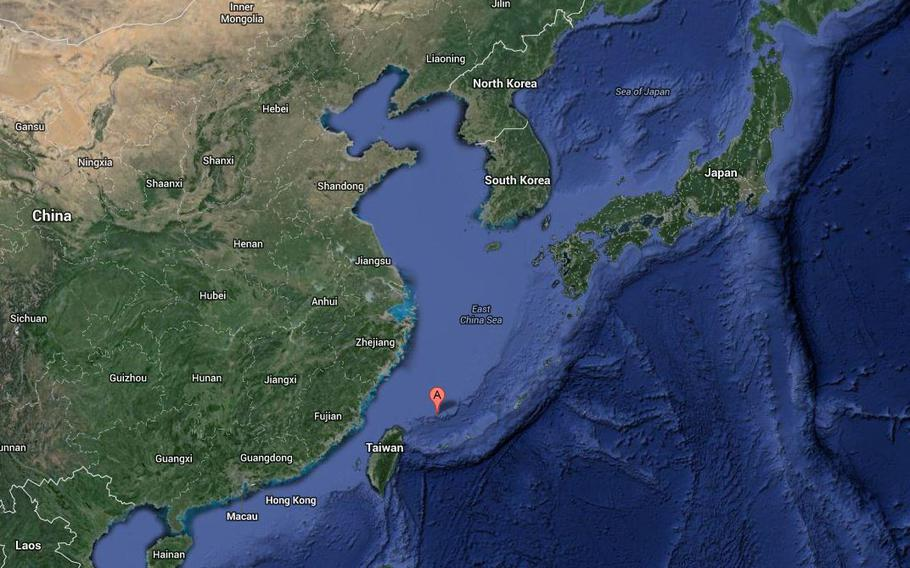 A red point on a Google map shows where the disputed islands are in reference to China, Japan, Taiwan and other regional elements.
