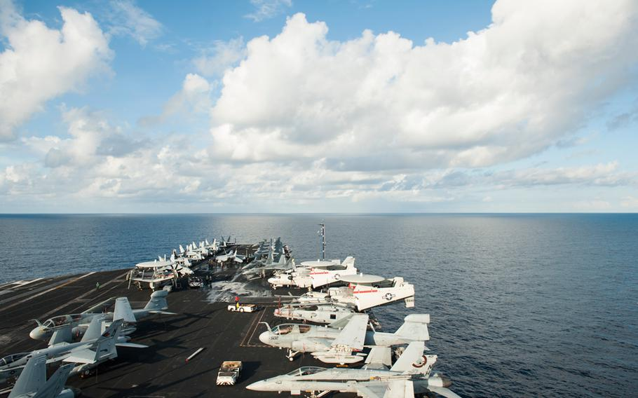 The aircraft carrier USS Nimitz in the South China Sea, which is part of its area of responsibility, Nov. 19, 2013.