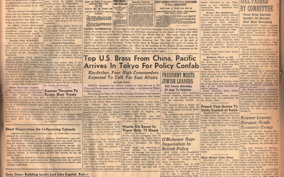 """Pacific Stars and Stripes first published in Tokyo on Oct. 3, 1945, 4 years after the Japanese attack on Pearl Harbor. This front page from Dec. 7, 1945, was the first anniversary of the event to appear in the paper. [<a href=""""http://stripes.com/polopoly_fs/1.255936.1386216842!/menu/standard/file/12-07-1945.pdf"""">Click for enlarged PDF image</a>]"""