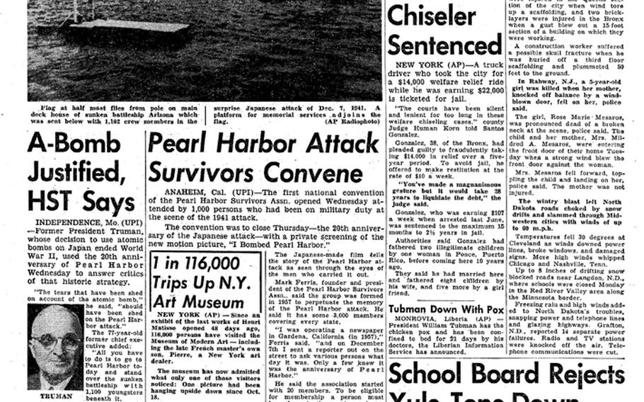 """Coverage of the attack on Pearl Harbor in a Pacific Stars and Stripes from Dec. 7, 1961, the 20th anniversary of the event. [<a href=""""http://stripes.com/polopoly_fs/1.255951.1386217743!/menu/standard/file/stars_and_stripes_12-07-1961-P5.pdf"""">Click for larger version (PDF)</a>]"""