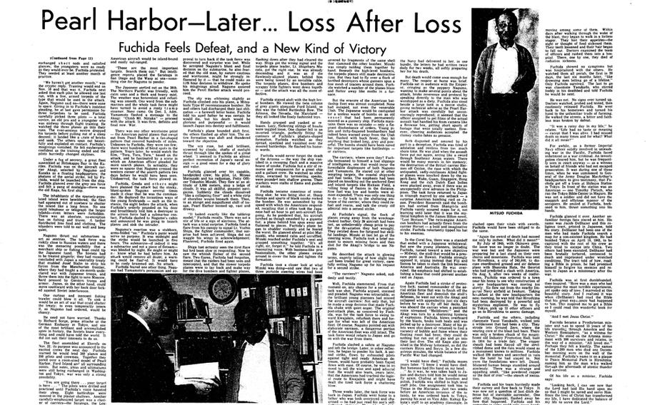 """The Japanese pilot who radioed the words 'Tora, tora, tora' after the Japanese Imperial Navy's attack on Pearl Harbor, seen in the Pacific Stars and Stripes on the event's Dec. 7, 1971, anniversary, later became a Christian missionary. [<a href="""" http://stripes.com/polopoly_fs/1.255954.1386217834!/menu/standard/file/stars_and_stripes_12-07-1971-P12-13.pdf"""">Click for larger image (PDF)</a>]"""