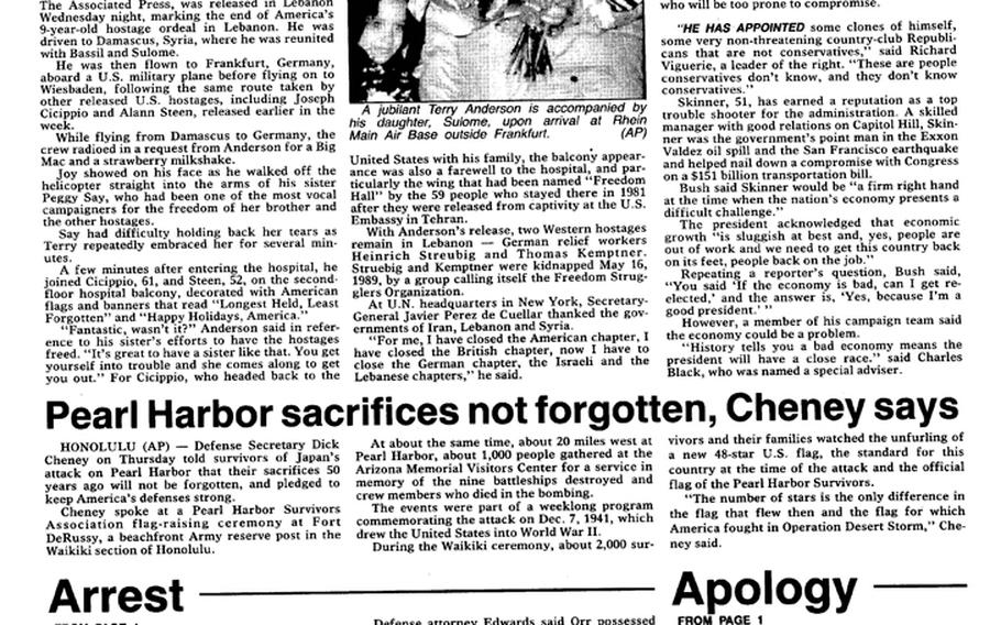 """A Pacific Stars and Stripes page from inside the main section of the Dec. 7, 1991, editions features a news story on live coverage. [<a href=""""http://stripes.com/polopoly_fs/1.255963.1386218042!/menu/standard/file/stars_and_stripes_12-07-1991-P4.pdf"""">Click for larger version (PDF)</a>] A <a href=""""http://www.stripes.com/polopoly_fs/1.142305!/menu/standard/file/ph_50th.pdf"""">separate special section</a> had been published in remembrance of the 50th anniversary of the attack."""
