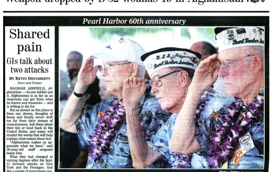 """'Shared pain: GIs talk about two attacks' reads the headline on the front page of the Stars and Stripes from Dec. 7, 2001. [<a href=""""http://stripes.com/polopoly_fs/1.255964.1386218069!/menu/standard/file/stars_and_stripes_12-07-2001-P1.pdf"""">Click for larger version (PDF)</a>]"""