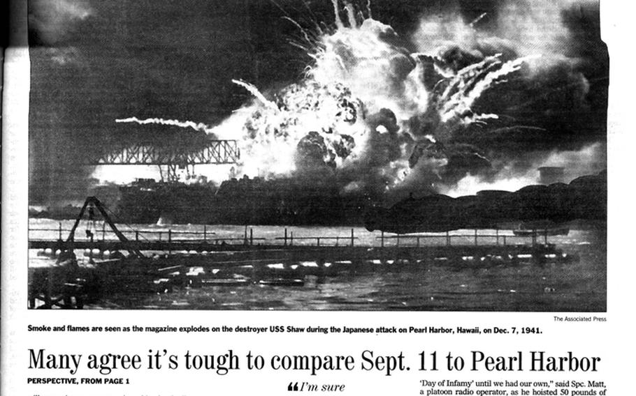 """Stars and Stripes inside page for Dec. 7, 2001, the 60th anniversary of the attack on Pearl Harbor. [<a href=""""http://stripes.com/polopoly_fs/1.255965.1386218190!/menu/standard/file/stars_and_stripes_12-07-2001-P15.pdf"""">Click for larger version (PDF)</a>]"""