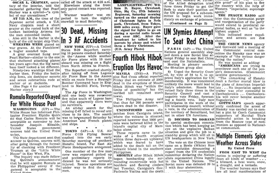 """As seen in a Pacific Stars and Stripes from Dec. 8, 1951, Vice President Alben Barkley warned against the 'sinister and brutal' ideology of communism during a ceremony marking the 10th anniversary of the attack on Pearl Harbor. [<a href=""""http://stripes.com/polopoly_fs/1.255949.1386217607!/menu/standard/file/stars_and_stripes_12-08-1951.pdf"""">Click for larger version (PDF)</a>]"""