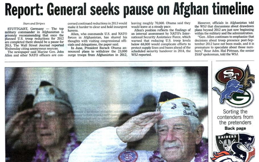 """Stars and Stripes front page for Dec. 8, 2001. Pearl Harbor survivors salute during a memorial ceremony in Hawaii marking the 70th anniversary of the attack. [<a href="""" http://stripes.com/polopoly_fs/1.255969.1386218367!/menu/standard/file/stars_and_stripes_12-08-2011-P1-art.pdf"""">Click for larger image (PDF)</a>]"""