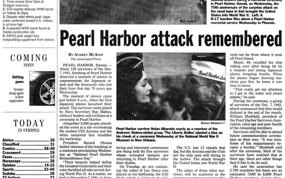 """Memorial events for the Pearl Harbor anniversary published in the Stars and Stripes on Dec. 8, 2011. [<a href=""""http://stripes.com/polopoly_fs/1.255970.1386218510!/menu/standard/file/stars_and_stripes_12-08-2011-P2.pdf"""">Click for larger version (PDF)</a>]"""