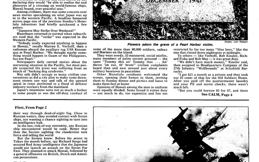 """Stars and Stripes' 50th anniversary special section page on the Pearl Harbor attack. [<a href=""""http://stripes.com/polopoly_fs/1.255975.1386219489!/menu/standard/file/stars_and_stripes_12-01-1991-P3.pdf"""">Click for larger version (PDF)</a>]"""