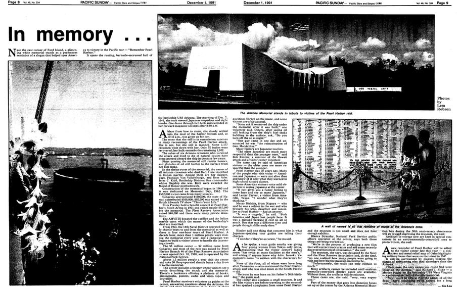 """Stars and Stripes' 50th anniversary special section page on the Pearl Harbor attack. [<a href=""""http://stripes.com/polopoly_fs/1.255980.1386219632!/menu/standard/file/stars_and_stripes_12-01-1991-P8.pdf"""">Click for larger version (PDF)</a>]"""