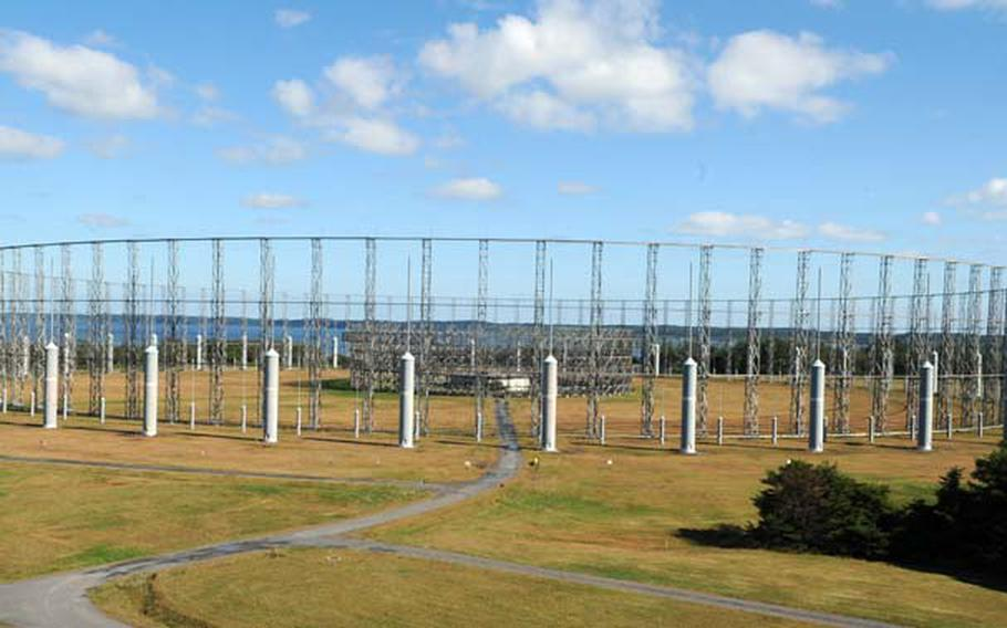 Misawa Air Base's AN/FLR-9 antenna, known as the 'Elephant Cage,' is seen just before the beginning of demolition Oct. 15, 2014.