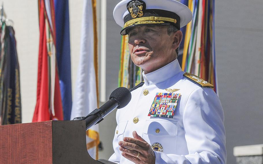 Adm. Harry B. Harris Jr., then-commander of U.S. Pacific Fleet, speaks during a Veterans Day ceremony held at the National Memorial Cemetery of the Pacific on Oahu, Hawaii on Nov. 11, 2014.