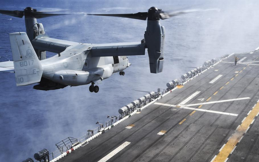 A Marine V-22A Osprey lands aboard the amphibious assault ship USS Peleliu in October 2014 during routine flight operations. Because of the hybrid aircraft's flexibility, the Navy is looking to acquire its own V-22 fleet.