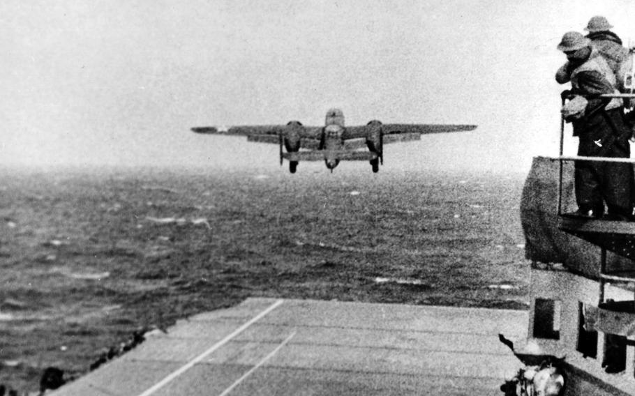 A B-25 takes off from the flight deck of the USS Hornet on April 18, 1942, on its way to the 1st Allied bombing raid of the Japanese mainland.