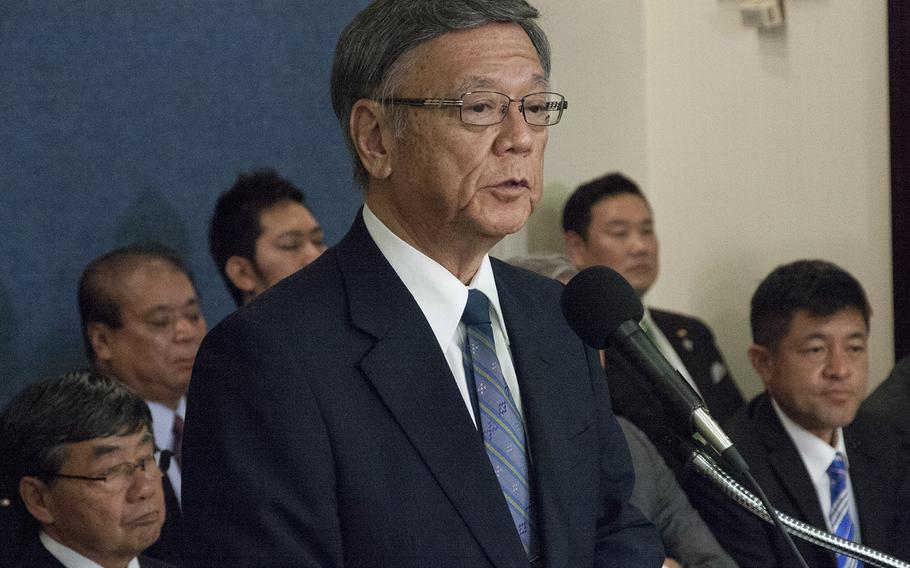 Gov. Takeshi Onaga of Okinawa prefecture meets with reporters at the National Press Club in Washington, D.C., June 3, 2015.