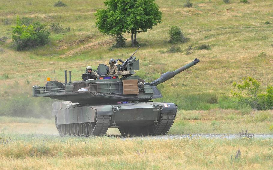 A U.S. Army M1A2 Abrams tank, manned by soldiers of the 3rd Combined Arms Battalion, 69th Armor Regiment,  rumbles across Novo Selo Training Area, Bulgaria, following a live-fire exercise on Thursday June 25, 2015. Concerns over Russia's incursion into Ukraine may be one of the reasons that Europe was spared cuts announced by the U.S. Army on Thursday.