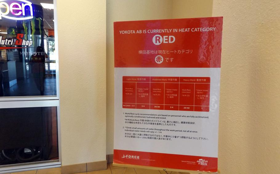 """An advisory board shows Yokota Air Base is designated """"red"""" on the Heat Catergory for July 14, 2015. The warning system provides work and water intake recommendations in cases of extreme heat."""