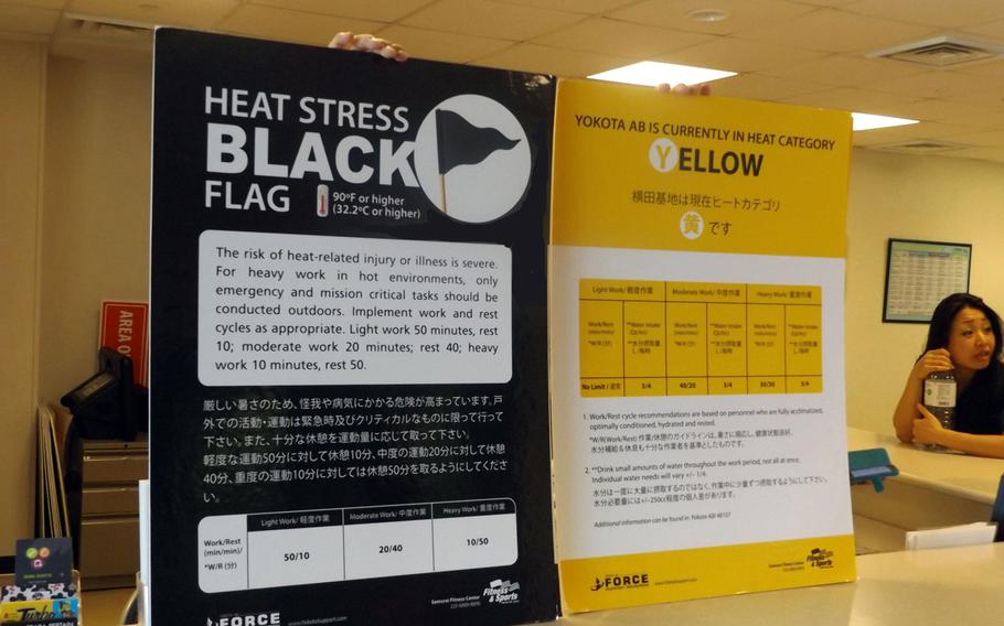 An employee at the Yokota Air Base fitness gym holds two signs displaying the black and yellow designations for the heat category.