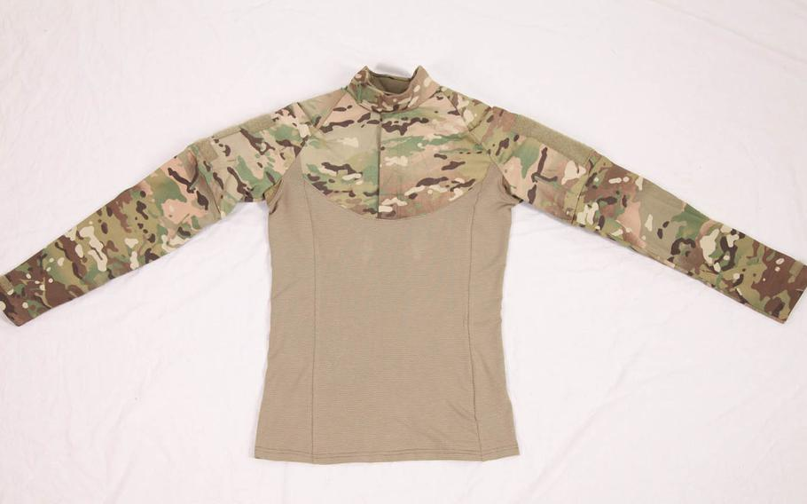 For lower-risk missions, troops can wear a ballistic combat shirt, which protects the upper back, chest, neck and arms, under their jackets. If a threat increases, they can add more protection, such as ceramic plates and a tactical carrier.