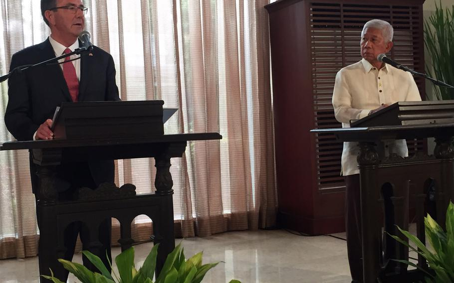 Defense Secretary Ash Carter and Philippines defense minister Voltaire Gazmin announce on Thursday, April 14, 2016, that new rotational forces will operate out of the Philippines.