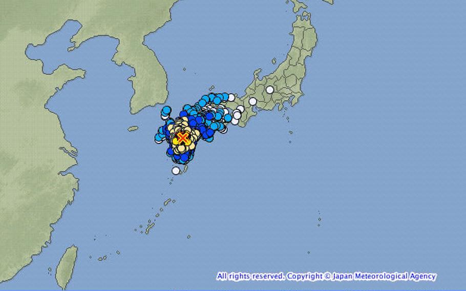 Seismic activity in Japan April 16, 2016.