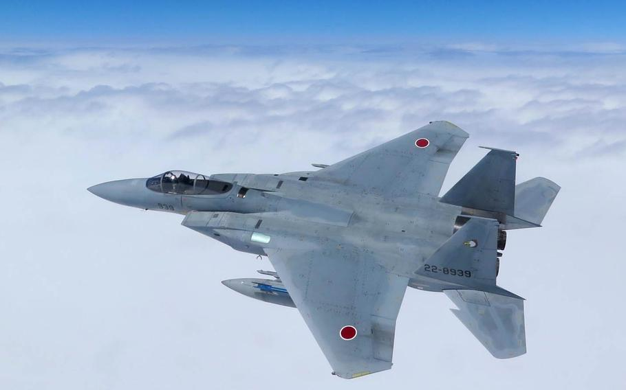A Japan Air Self-Defense Force F-15 trains in southern Japan in 2015. The number of sorties needed to ward off Chinese aircraft infringing on Japan's airspace has hit an all-time high.