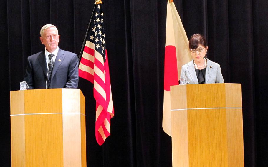 Secretary of Defense Jim Mattis takes part in a press conference with Japanese Minister of Defense Tomomi Inada at the Defense Ministry in Tokyo, Saturday, Feb. 4, 2017.