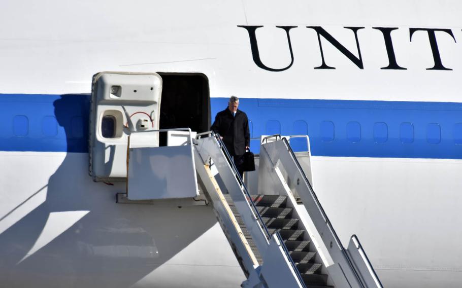 Secretary of Defense Jim Mattis arrives at Yokota Air Base, Japan, on Friday, Feb. 3, 2017.